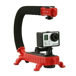 Cam Caddie Stabilizing Camera Handle for Sony Canon GoPro Mirrorless in Red
