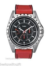 NEW TIMEX RETROGRADE RED LEATHER MULTIFUNCTION WATCH-T2N109