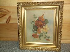 Super Oil Painting On Board By 15 year old 1901 Flower H.M.V. Signed