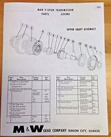 M&W Gear Co. 9 Speed Transmission IH Farmall H M Super M MTA Parts List Manual