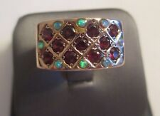 ESTATE 14K Pink Gold Opal & Garnet Ring  TCW=1.00 Carat 10.0 Grams  12 MM Wide