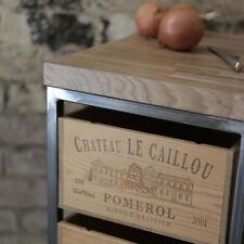 Handmade Industrial steel butchers block & storage w/ Reclaimed Wine-Box Drawers