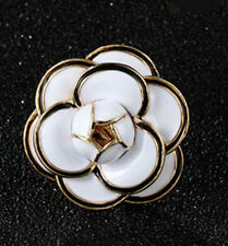 Charm Gold Plated White Cute Camellia Brooch Pin Brooch Suit Pin Women Brooch