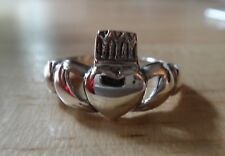 size 9 Sterling Silver Claddagh Irish Friendship Love Symbol 11mm wide top Ring