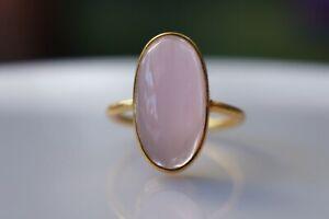 Sterling Silver Rose Quartz Quartz Ring 10x20mm Fine Solid 925 Ring Admirebhs