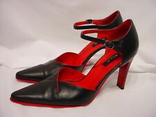 "N.Y.L.A SIZE 8 M BLACK / RED ACCENT LEATHER ANKLE STRAP POINTED TOE 3 1/2"" HEELS"