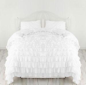 Waterfall 1 Piece Ruffled Duvet Set 1000-TC Egyptian Cotton Choose Size & Color