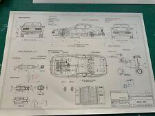 Limitierter ARTwork Porsche 944 1980 Konstruktionszeichnung/ Blueprint.