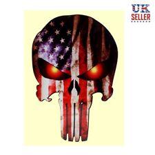 Punisher Skull Car Sticker Skeleton Motorbike Helmet American USA Flag - UK
