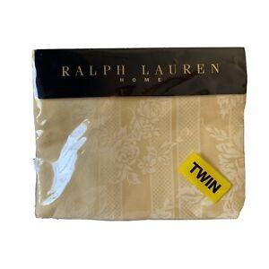 New Ralph Lauren Fairchild Floral Stripe Black Label Twin Flat Sheet, Wheat HTF