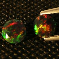1.14Ct Natural Color Play Ethiopian Black Opal Round 6.5mm Matching Pair Ref VOD