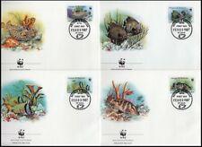 ANTIGUA AND BARBUDA 1987 WWF MARINE LIFE PART SET FDC's (x4) (ID:529/D17167)