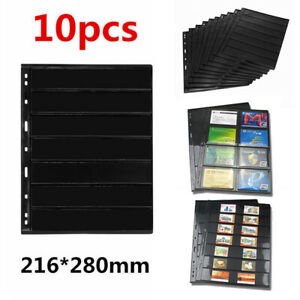10 Sheets Stamp Stock Pages (7 rows/8 Grid) 9 Binder Holes Black & Double Sided
