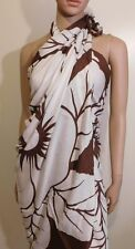White And Brown Hibiscus Flower Design Sarong,  Swim Suit Cover up