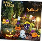 Halloween Yard Signs 9 Pack for Outdoor Decorations, Ghost Pumpkin Orange 9p