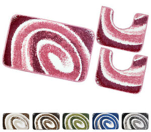 Tappeto bagno spirale parure set 3 pezzi morbido assorbente antiscivolo lavabile