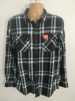 MENS SUPERDRY BLUE GREY COTTON BUTTON UP LONG SLEEVED SHIRT TOP TSHIRT SIZE 2XL
