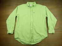 Brooks Brothers 346 Mens Size Large Green Striped Long Sleeve Shirt