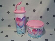 Tupperware Heart 470ml Tumbler & 600ml Canister Set  Pink & Blue New