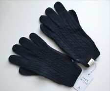 JACK WILLS Navy Lambswool CABLE KNIT GLOVES One Size NEW UNISEX Mens Womens