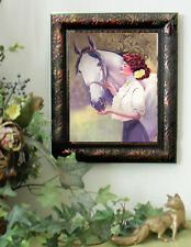 Victorian Girl n GRAY Horse Art Print Vintage Style Framed11x13 picture