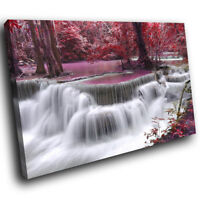 SC446 Purple Waterfall Forest Nature Landscape Canvas Wall Art Picture Prints