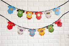 Superhero BOY Banner Bunting Room Decoration Party Supplies Flag Logo Symbol