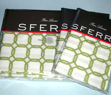Sferra BARRINGTON King Duvet 5 PC Set Chartreuse Green/White Cotton Percale New