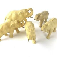Lot of 5 Vintage Hard Plastic Elephant Figurines Japan Fleur De Lis Celluloid