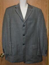 Mens Black Gray Woven Claiborne Wool Suit Jacket Blazer Size 44 Long very good
