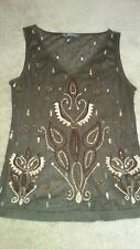 Jacqui-E beaded and embroidered brown lace top Size XS