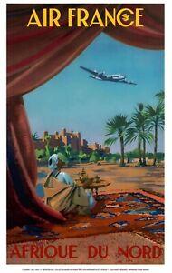 Réédition Affiche AIR FRANCE - Afrique du Nord - Guerra 1950