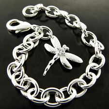 BRACELET BANGLE 925 STERLING SILVER S/F SOLID DIAMOND SIMULATED DRAGONFLY DESIGN