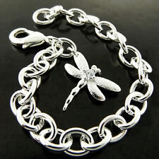 Solid Diamond Simulated Dragonfly Design Bracelet Bangle 925 Sterling Silver S/F