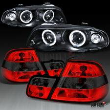 1999-2001 BMW E46 3-Series 4Dr Black LED Projector Headlights+Smoke Tail Lamps