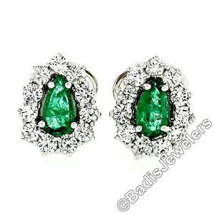 Vintage 18k White Gold 2.7ct Teardrop Pear Emerald & Round Diamond Halo Earrings