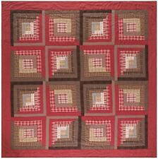 Log Cabin Patchwork Quilt Oversized King Lodge Style 100%Cotton Red Brown Tacoma