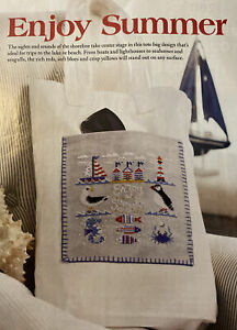 """Counted Cross-Stitch Pattern. """"Enjoy Summer"""" Beach, lighthouse, seahorse, crab.."""