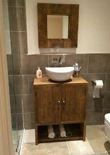 NEW SOLID WOOD RUSTIC BATHROOM UNDER-SINK CABINET CUPBOARD STORAGE WITH SHELF