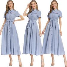Vestido de fiesta mujeres Damas Mangas Cortas Vestido Largo Cuello Solapa Camisa Casual de botones