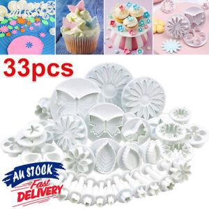 33PCS Sugarcraft Cake Cupcake Decorating Fondant Icing Plunger Cutters Tools