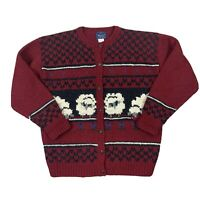 Vtg Woolrich Wool Cardigan Sweater Fair Isle Sheep Red Holiday Cottage Core