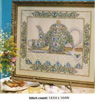 TEA AND TARTS BY TERESA WENTZLER   CROSS STITCH-HARDANGER PATTERN ONLY