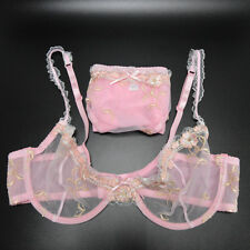 Unpadded Sheer Lace Bra Set See Through Thin Underwear Lingerie and Panties Set