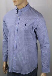 Ralph Lauren Blue Purple Plaid Classic Stretch Dress Shirt Navy Blue Pony NWT