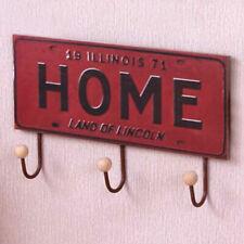 30cm Vintage Wall Mount Coat 3 Hanging Hook Towel Rack Rustic Red HomeSign Kids