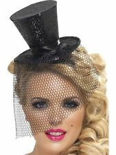 Women's Black Fever Sexy Mini Top Fancy Dress Hat Headband Burlesque Hen Theme