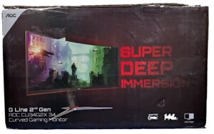 "AOC CU34G2X 34"" Curved Frameless Gaming Monitor, UltraWide QHD 3440x1440 144hz"