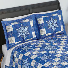 Set of 2 Blue Christmas Snowflake Patchwork Pillow Shams