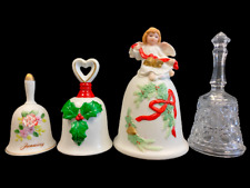 Lot of 4 Collectible Bells Homco Christmas Crystal Porcelain Ceramic